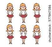 emotions a little girl  | Shutterstock .eps vector #577847386