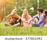 a group of students with a... | Shutterstock . vector #577852492