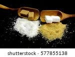 brown and white sugar | Shutterstock . vector #577855138