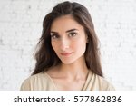beautiful woman girl natural... | Shutterstock . vector #577862836