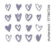set of hand drawn paint heart.... | Shutterstock .eps vector #577867246