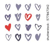 set of hand drawn paint heart.... | Shutterstock .eps vector #577867342