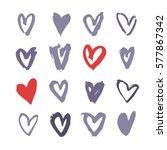 set of hand drawn paint heart.... | Shutterstock .eps vector #577867342