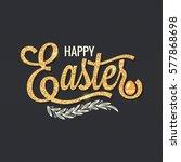 Easter Vintage Gold Lettering...