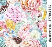 gentle watercolor floral... | Shutterstock . vector #577869592