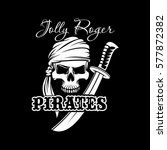 pirate skull in bandana with... | Shutterstock .eps vector #577872382