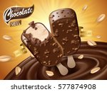 chocolate ice bar ad  with... | Shutterstock .eps vector #577874908