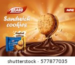 sandwich chocolate cookies ad ... | Shutterstock .eps vector #577877035