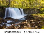 choshi ootaki waterfall in the... | Shutterstock . vector #577887712