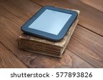 old brown book with tablet... | Shutterstock . vector #577893826