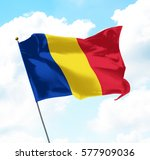flag of romania raised up in... | Shutterstock . vector #577909036