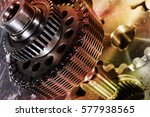 titanium and steel gears and... | Shutterstock . vector #577938565
