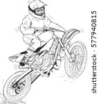 motocross motorbike hand drawn... | Shutterstock .eps vector #577940815