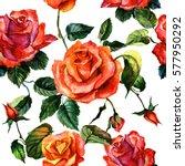 wildflower rose flower pattern... | Shutterstock . vector #577950292