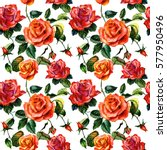Stock photo wildflower rose flower pattern in a watercolor style isolated full name of the plant rose 577950496