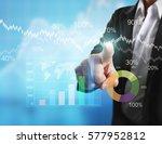 businessman with financial...   Shutterstock . vector #577952812