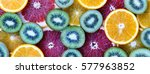 fruits sliced  kiwi  orange ... | Shutterstock . vector #577963852