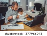 father drinking coffee and... | Shutterstock . vector #577966045