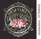 sweet roses perfume  vintage...   Shutterstock .eps vector #577968532