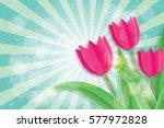 Pink Tulips Paper Cut Flower....