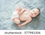 funny little baby wearing a... | Shutterstock . vector #577981306