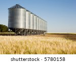 Grain Bins In The Distance Wit...