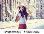 fashionably dressed woman on... | Shutterstock . vector #578018002
