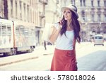 fashionably dressed woman on... | Shutterstock . vector #578018026
