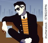 fashionable man with a... | Shutterstock .eps vector #578023996