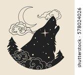 howling wolf's head. tattoo...   Shutterstock .eps vector #578024026