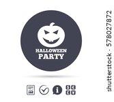 halloween pumpkin sign icon.... | Shutterstock .eps vector #578027872