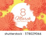 orange paper cut flower. 8... | Shutterstock .eps vector #578029066