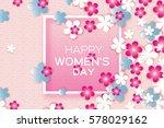 sakura blossom paper cut flower.... | Shutterstock .eps vector #578029162