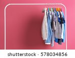 hangers with colourful clothes... | Shutterstock . vector #578034856