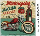 Stock vector vintage gasoline route poster vector classic motorcycles 578040028