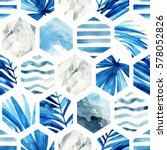 Stock photo abstract geometric seamless pattern on light background watercolor hexagon with palm leaves waves 578052826