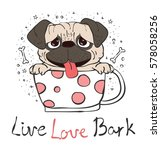 vector card with cute pug puppy ... | Shutterstock .eps vector #578058256