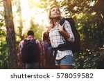 group of backpacking hikers... | Shutterstock . vector #578059582