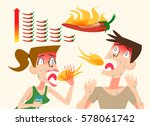 spicy food. problem of foreign... | Shutterstock .eps vector #578061742
