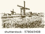 dutch windmill  romantic... | Shutterstock .eps vector #578065408