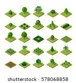 set isometric 3d trees forest ... | Shutterstock .eps vector #578068858