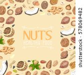 background with colored nuts... | Shutterstock .eps vector #578069482