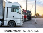 heavy trucks loaded with goods... | Shutterstock . vector #578073766