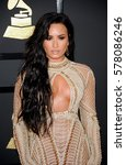 demi lovato at the 59th grammy... | Shutterstock . vector #578086246