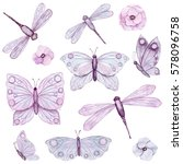set of watercolor butterflies... | Shutterstock . vector #578096758