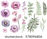 Stock photo floral collection with watercolor flowers berries and leaves in vintage style 578096806