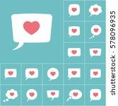 Love Heart  Speech Bubble Icon...