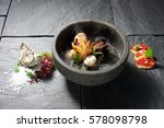 seafood dish bowl presented on... | Shutterstock . vector #578098798