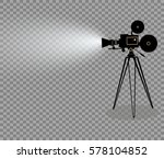 old style movie camera flat... | Shutterstock .eps vector #578104852