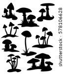 nine mushroom silhouettes | Shutterstock .eps vector #578106628